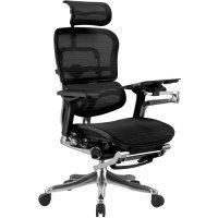 Сетчатое компьютерное кресло ERGOHUMAN PLUS с раскладной подставкой для ног.
